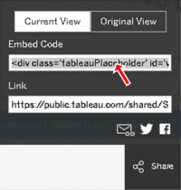 Image illustrating where the embed code is located for a visualization.